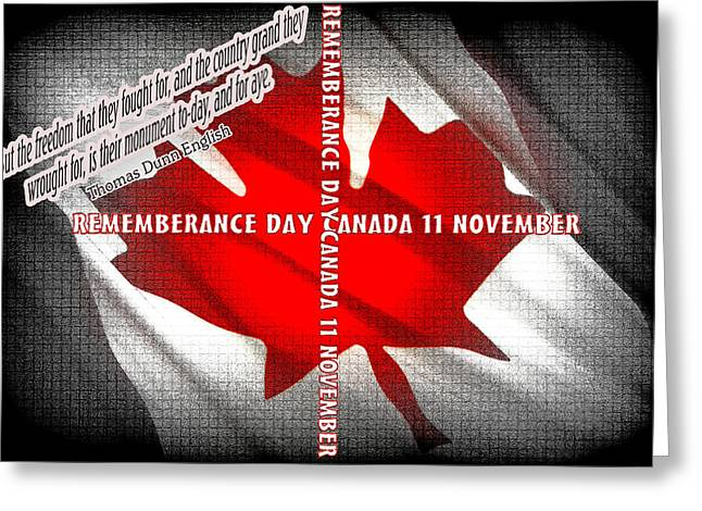 Bayonet Greeting Cards - Rememberance Day Canada Greeting Card by Laura Strain
