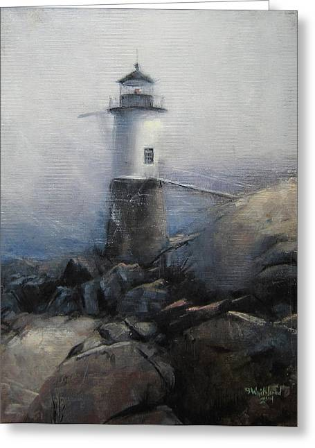 Haut Paintings Greeting Cards - Remembering Isle Au Haut Greeting Card by Bryan Whitehead