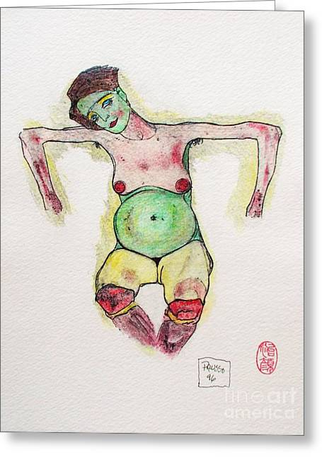 Schiele Drawings Greeting Cards - Remembering Schiele Greeting Card by Roberto Prusso