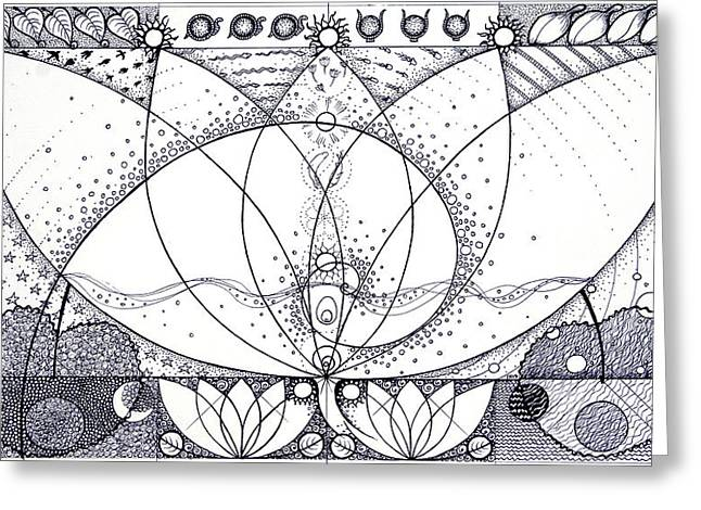 Helix Drawings Greeting Cards - Remembering the Blue Lotus Greeting Card by Ida  Novotna