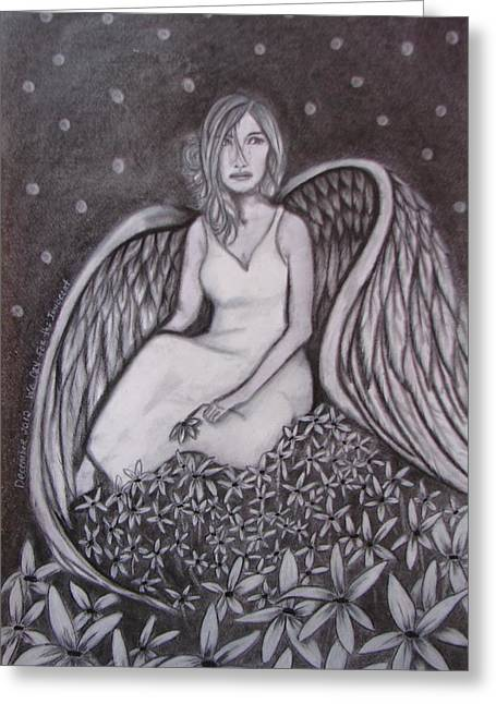Night Angel Drawings Greeting Cards - Remembering the innocent Greeting Card by Rebecca Wiltfong Frisbee