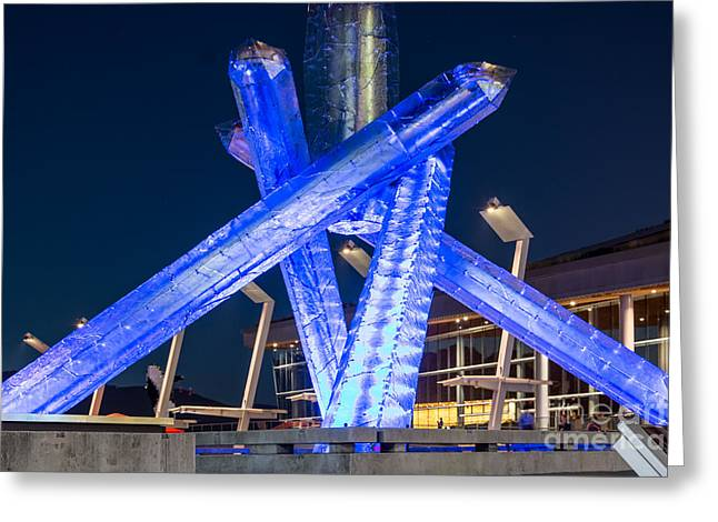 Vancouver At Night Greeting Cards - Remembering Vancouver Olympics - by Sabine Edrissi Greeting Card by Sabine Edrissi