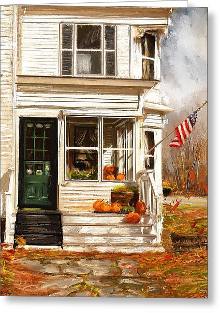 Old Country Roads Paintings Greeting Cards - Remembering When- Porches Art Greeting Card by Lourry Legarde