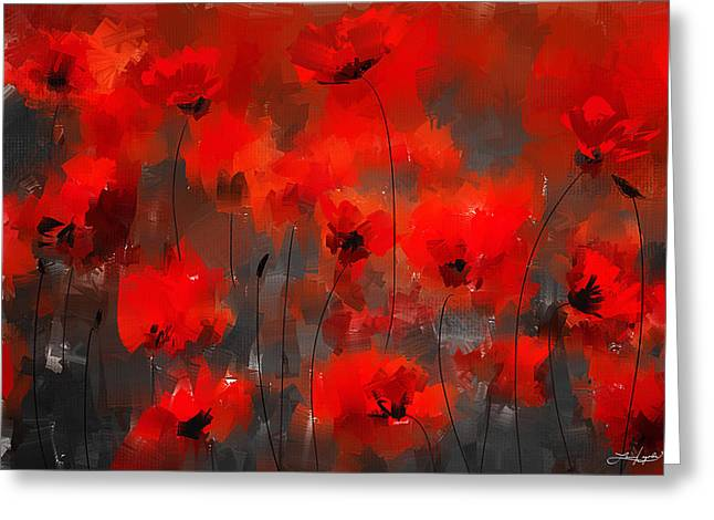 Red Abstracts Greeting Cards - Remembrance Greeting Card by Lourry Legarde