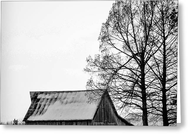 Snow On Barn Greeting Cards - Reminescent of the Past Greeting Card by Deb Henman