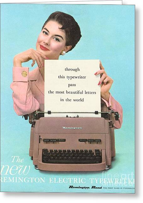 Remington 1950s Uk Typewriters Greeting Card by The Advertising Archives