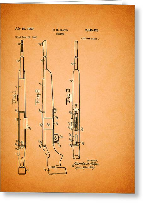 Remington Drawings Greeting Cards - Remington Firearm Patent 1960 Greeting Card by Mountain Dreams