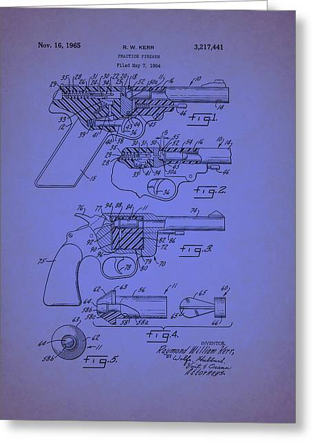 Remington Drawings Greeting Cards - Remington Practice Pistol Patent 1965 Greeting Card by Mountain Dreams