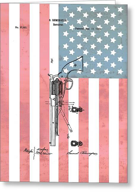 Remington Revolver Patent American Flag Greeting Card by Dan Sproul