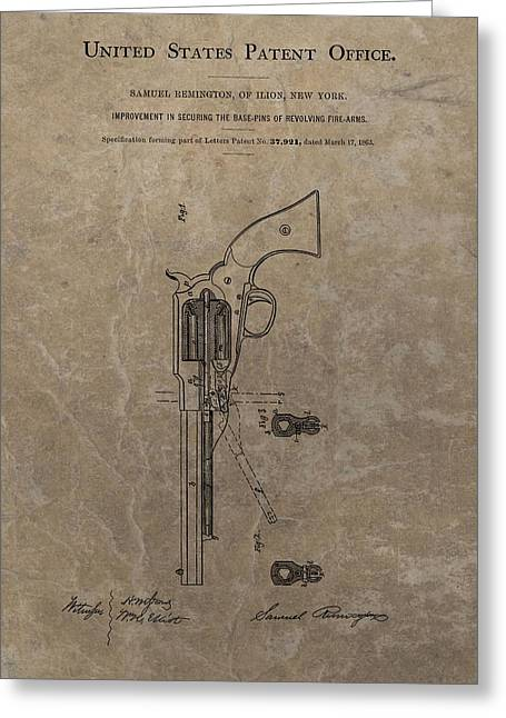 Remington Revolver Patent Greeting Card by Dan Sproul