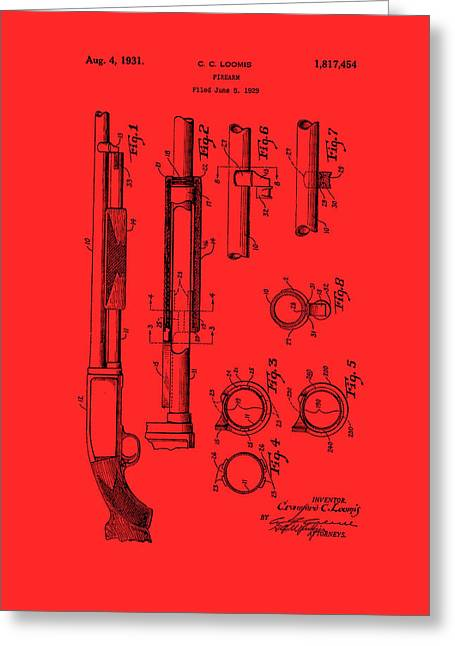 Remington Drawings Greeting Cards - Remington Rifle Patent 1929 Greeting Card by Mountain Dreams