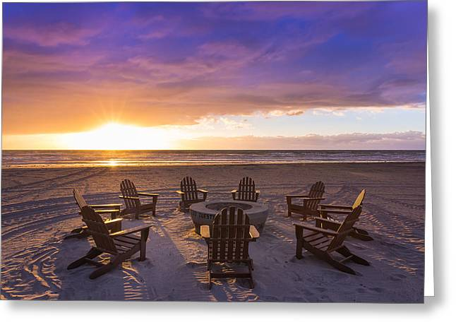 Adirondack Chairs On The Beach Greeting Cards - Reminisce  Greeting Card by Matthew Cappuccilli