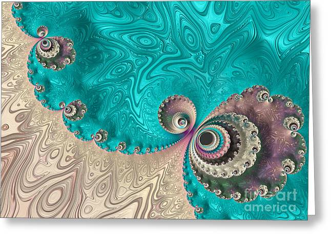 Abstract Digital Greeting Cards - Reminiscent Of A Peacock Greeting Card by Heidi Smith