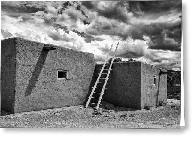 Taos Photographs Greeting Cards - Reminiscent - Taos Pueblo New Mexico Greeting Card by Silvio Ligutti