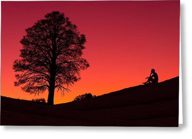 Orange Sky Greeting Cards - Reminiscing Greeting Card by Chad Dutson