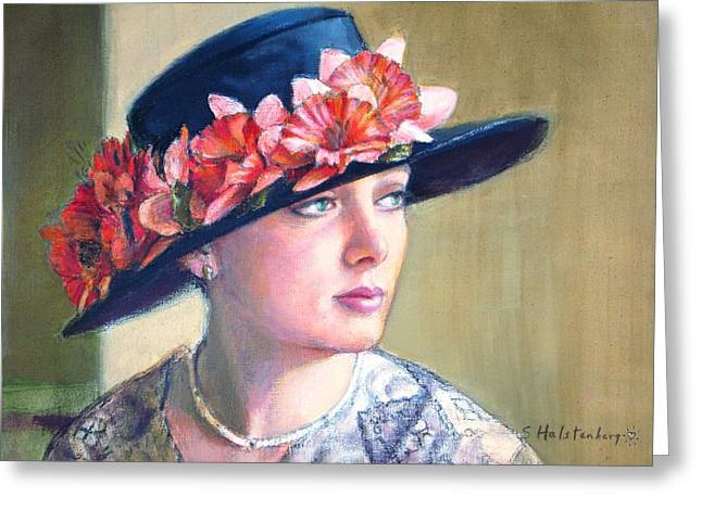 Portrait With Flowers Greeting Cards - Reminiscing Greeting Card by Sue Halstenberg