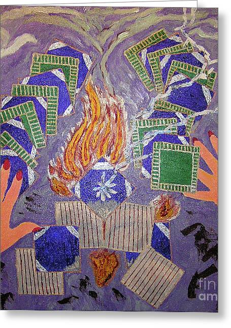 Lightning Strike Mixed Media Greeting Cards - Remnants From The Fire Greeting Card by Robyn Louisell