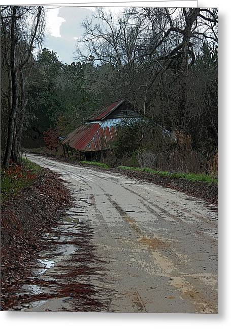Red Roofed Barn Greeting Cards - Remnants of a Simpler Time II Greeting Card by Suzanne Gaff