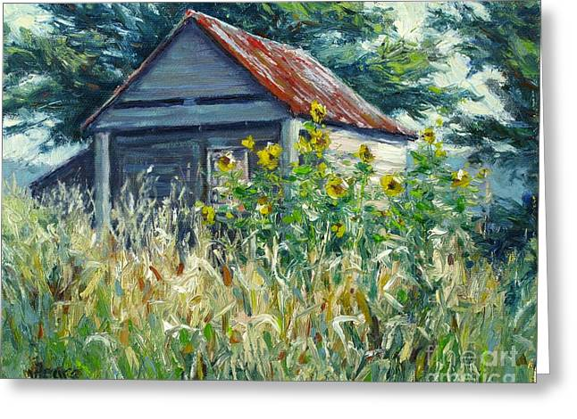Tin Roof Greeting Cards - Remnants of My Garden Greeting Card by Vickie Fears