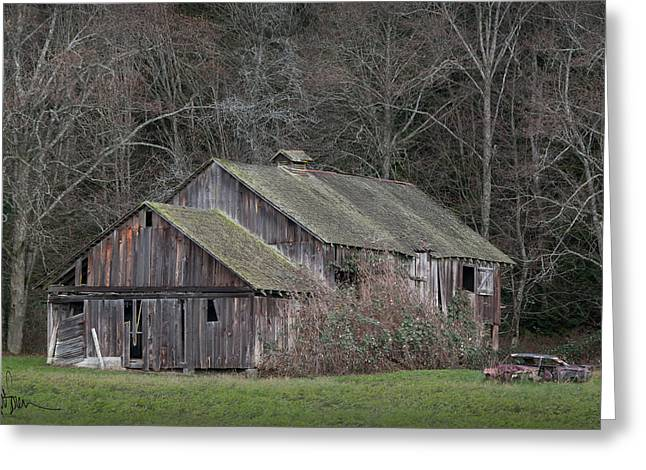 Farm Greeting Cards - Remnants of The Old Place and Family Car Greeting Card by Kent Sorensen