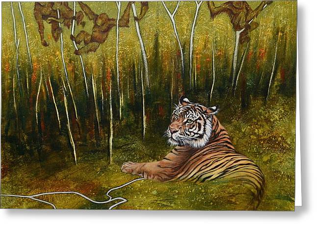 Wildcats Paintings Greeting Cards - Remnants of the Rainforest Greeting Card by Cynthia House