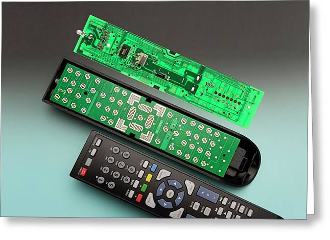 Remote Control Printed Circuit Board Greeting Card by Sheila Terry