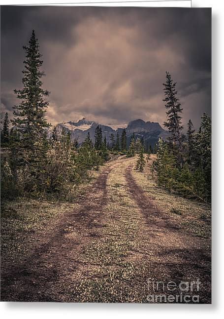 Banff Greeting Cards - Remote Mountain Road Greeting Card by Edward Fielding
