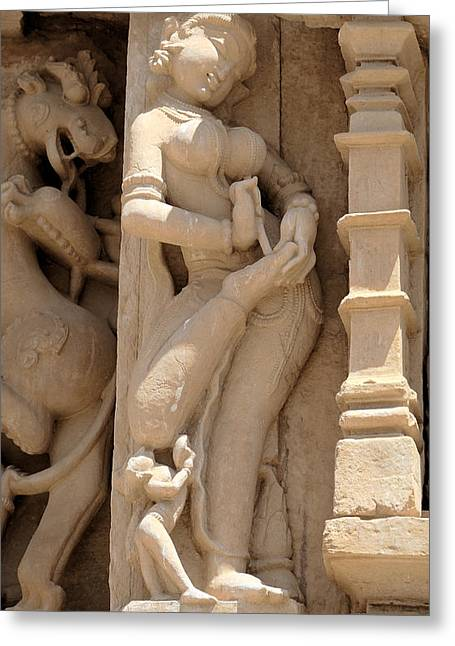 Khajuraho Dancer Greeting Cards - Removing a Thorn Greeting Card by C H Apperson