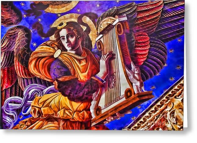 Playing Angels Digital Greeting Cards - Renaissance Angel With A Harp Greeting Card by Alexandra Jordankova