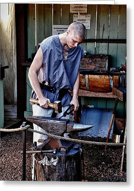 Eure Greeting Cards - Renaissance Blacksmith Greeting Card by Todd and candice Dailey