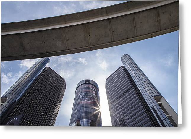 Renaissance Center Greeting Cards - Renaissance Center and People Mover in Detroit  Greeting Card by John McGraw