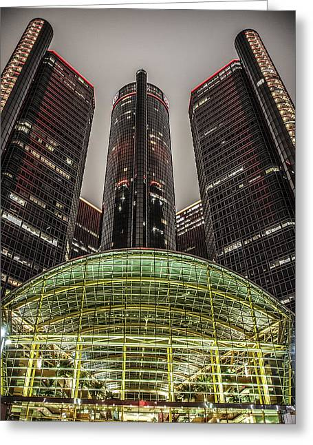 Renaissance Center Detroit Michigan Greeting Card by Nicholas  Grunas