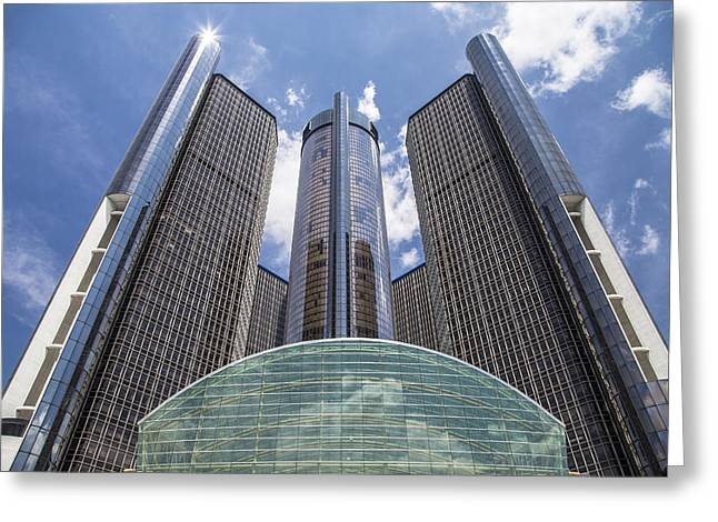 Renaissance Center Greeting Cards - Renaissance Center from River Greeting Card by John McGraw