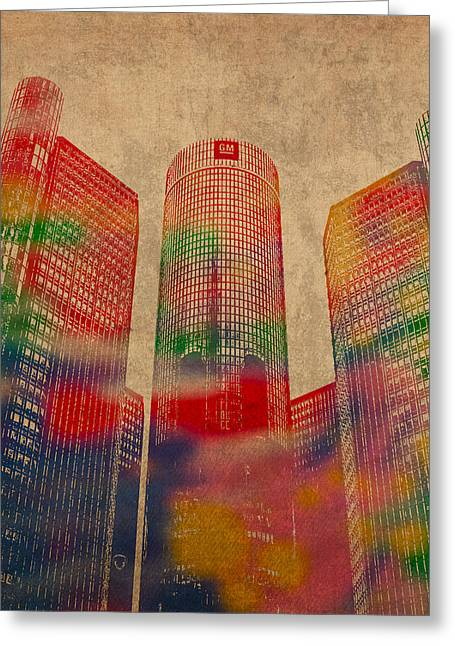 Renaissance Center Iconic Buildings Of Detroit Watercolor On Worn Canvas Series Number 2 Greeting Card by Design Turnpike