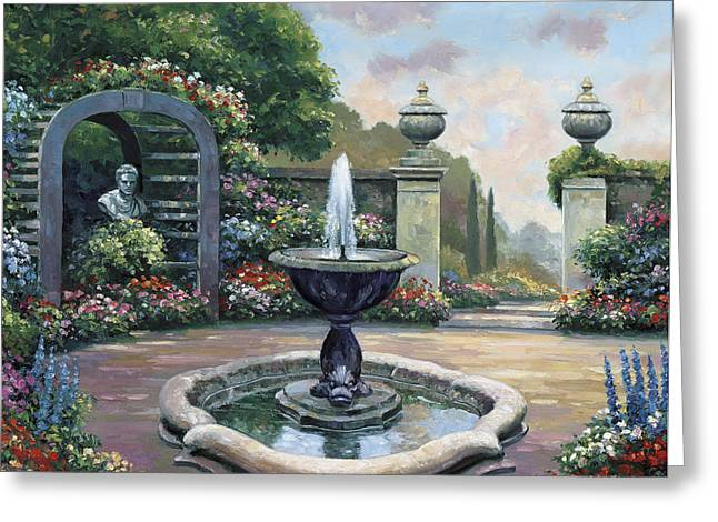 Renaissance Garden Greeting Card by John Zaccheo