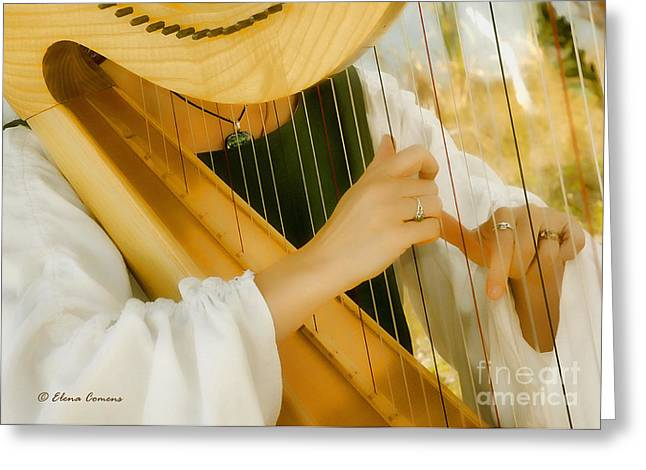 Playing Cards Greeting Cards - Renaissance Harp Greeting Card by Starlite Studio
