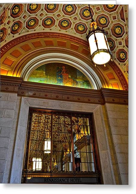 Entry-way Greeting Cards - Renaissance Hotel Cleveland Greeting Card by Frozen in Time Fine Art Photography