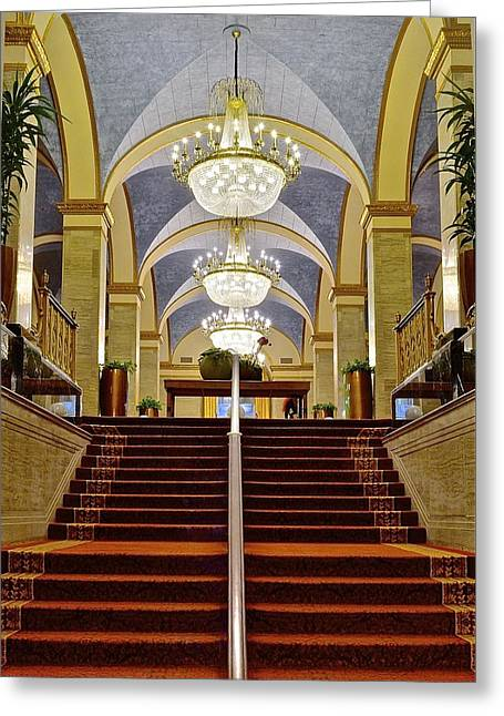 Red Carpet Greeting Cards - Renaissance Hotel Corridor Greeting Card by Frozen in Time Fine Art Photography