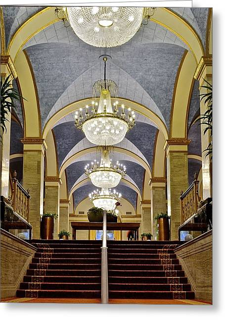 Valuable China Greeting Cards - Renaissance Hotel Staircase Greeting Card by Frozen in Time Fine Art Photography