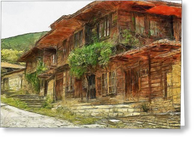 Bulgaria Mixed Media Greeting Cards - Renaissance Old house - art Greeting Card by Georgi Dimitrov