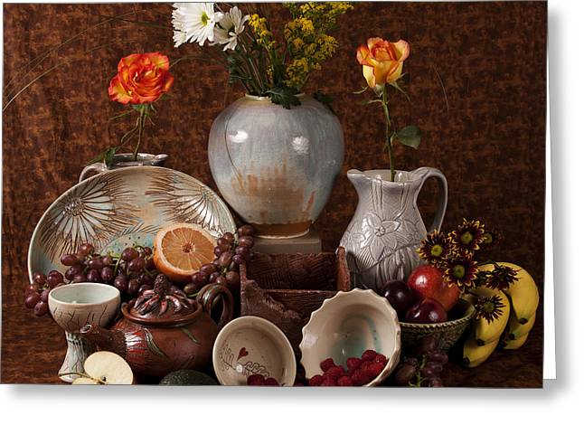 Pottery Pitcher Greeting Cards - Renaissance Style Still Life with my Pottery Greeting Card by Patty Sheppard