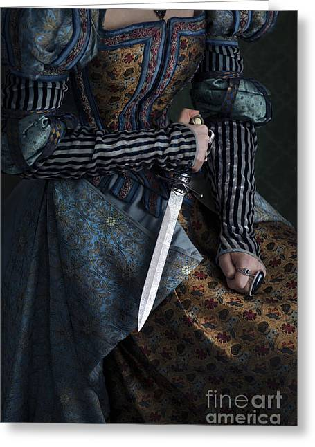 Puffed Sleeves Greeting Cards - Renaissance Tudor Elizabethan Woman With A Dagger Greeting Card by Lee Avison
