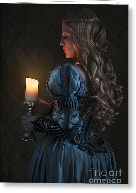 Embroidered Dress Greeting Cards - Renaissance Woman Holding A Candle  Greeting Card by Lee Avison