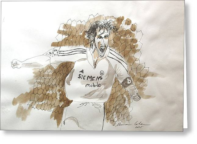 Soccer Framed Prints Greeting Cards - Renaldo Rage Greeting Card by Esther Newman-Cohen