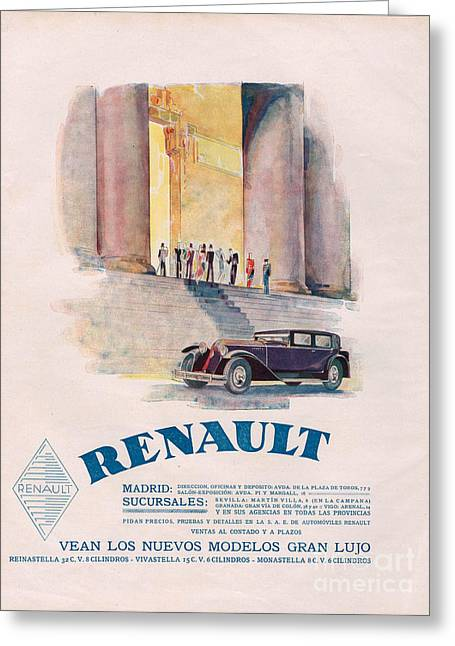 American Automobiles Greeting Cards - Renault 1930 1930s Usa Cc Cars Greeting Card by The Advertising Archives