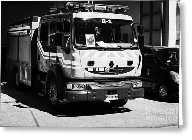 Brigade Greeting Cards - Renault Fire Trucks Tenders Constitucion Fire Station Chi Greeting Card by Joe Fox