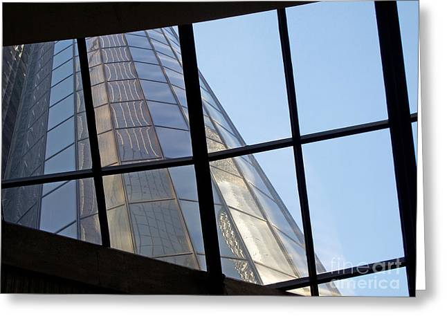 Renaissance Center Greeting Cards - RenCen Skylight Greeting Card by Ann Horn