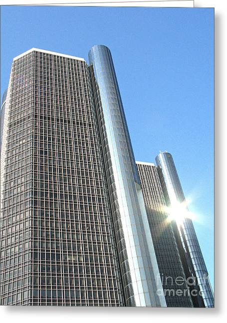 Renaissance Center Greeting Cards - RenCen Towers and Sunburst Greeting Card by Ann Horn