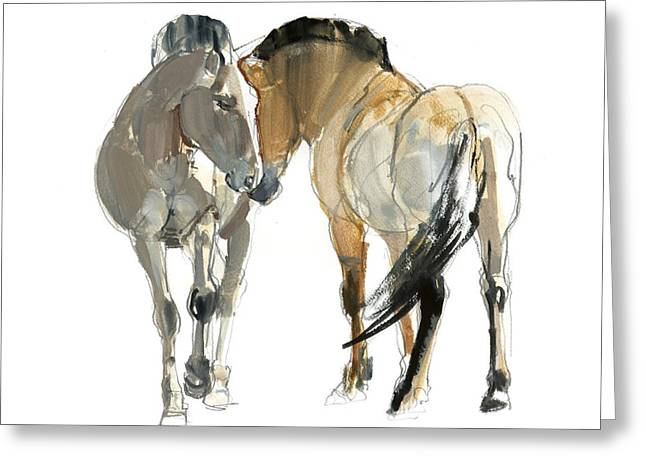 Wild Horse Greeting Cards - Rencontre Przewalski, 2013, Watercolour And Pigment On Paper Greeting Card by Mark Adlington