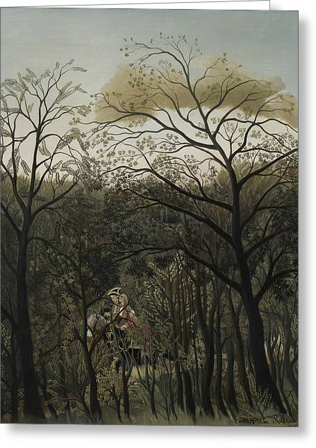 Meetings Greeting Cards - Rendezvous in the Forest Greeting Card by Henri J F Rousseau